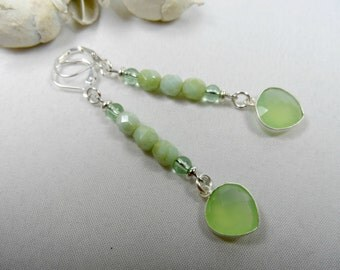 Pale Apple Green Chalcedony Gemstone Leverback Earrings in Sterling Silver Bezels - 2.25 Inch Drop