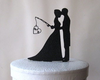 Personalized Wedding Cake Topper - Hooked on Love with personalized Initials