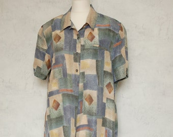 VTG 80s olive grey and blue 100% silk blouse