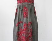 Mexican Embroidered Sundress Cotton Strapless Dress With Lining, Beach Dress, Bohemian Dress