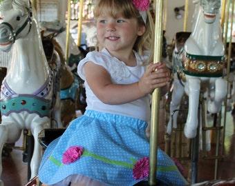 Girls skirt pattern, ruffled rosette pdf sewing pattern, circle skirt pattern, ruffler attachment tutorial, RING AROUND the ROSEY