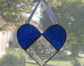 Heart Stained Glass Suncatcher - Valentines Day Decor - Blue Glass - Heart Ornament