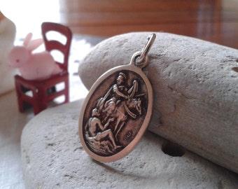 VTG St Martin de Tours religious Saint Martin Tours medal silver soldier military chaplain jewelry pendant Father's day Grad birthday gift