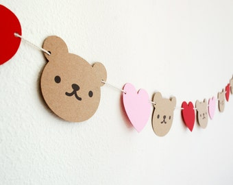 SALE!  Teddy Bear and Hearts Garland 5'