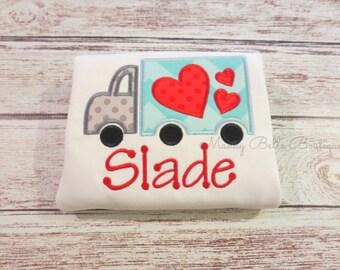 Fun Valentine's Day Heart Truck Appliqued Shirt - Boys, Valentines Day, Heart, Truck, Boys Truck Shirt, Toddler