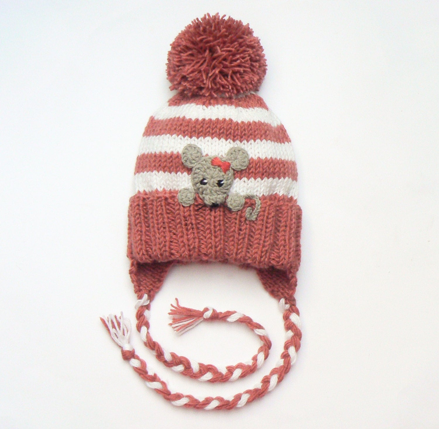 Knitting Pattern Mouse Hat : Baby Girls Hat Mouse Hat Knit Earflap Hat Cute Baby Hat by 2mice