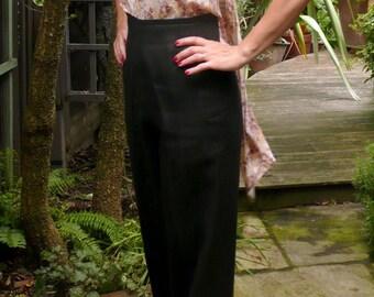 1940s Palazzo Pants // Wide Leg Black Linen Trousers // 1930s Style High Waisted Slacks