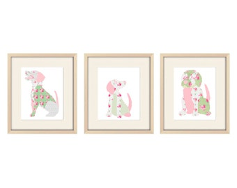 nursery art, baby girl nursery decor, puppy nursery, dog art girl nursery art girl nursery decor childrens art dog nursery decor girl gift