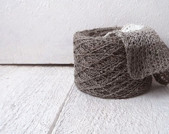 Boucle Linen Yarn - natural grey linen
