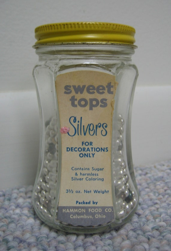 Cake Decoration Silver Balls : Vintage Cake Decorations Silver Balls Sweet Tops by RSWVintage