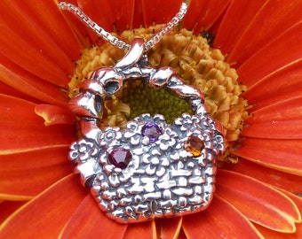 Sterling Silver Flowers in a Basket with Amethyst, Garnet and Citrine Gemstones Mother's Day Bouquet
