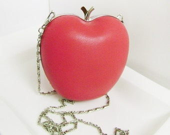 Leather clutch purse apple . Clutch natural soft leather fashion coral . Leather handbag . Miniature clutch purse .