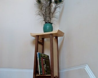 Accent Table: Narrow Side Table, Wood Nightstand, Small Entry Table, Bookcase- Handmade Furniture- SHAPED COLLECTION
