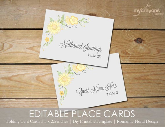 items similar to romantic floral place card template printable wedding place cards wedding
