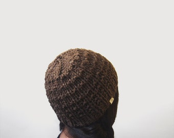 chunky textured hand knit beanie-- the synapse virgin wool beanie in warm brown