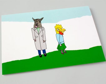 Quirky Surreal Birthday Card - Quirky Illustrated Greeting Card - Cute Card - Goat & Chicken Masks