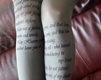 Text Printed Tights , Poetry Tights  , Literature Fashion Tights , Poem Tights
