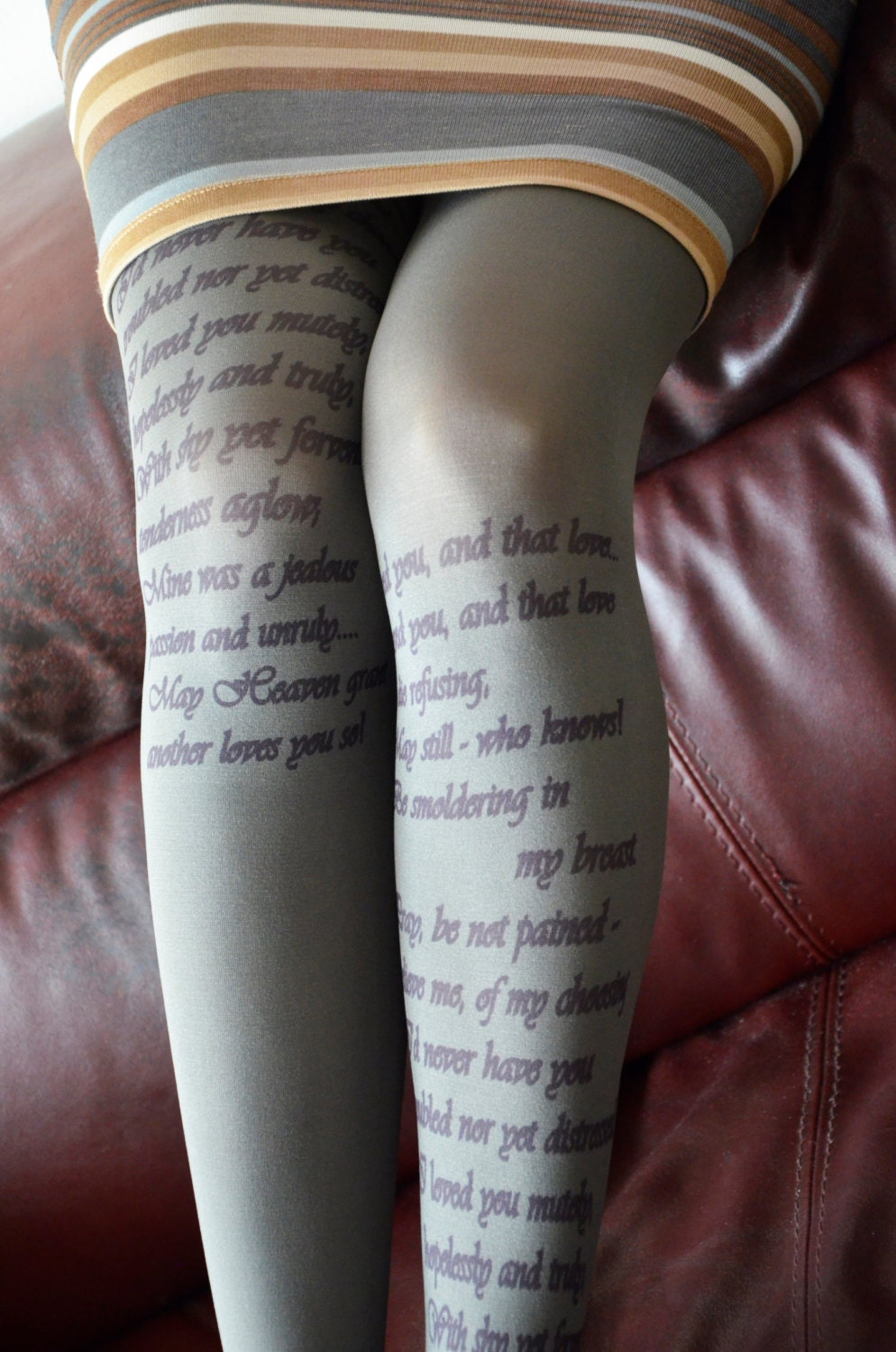 Text Printed Tights Poetry Tights Literature Fashion