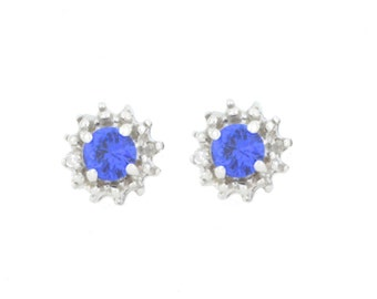 0.50 Ct Blue Sapphire & Diamond Stud Earrings .925 Sterling Silver Rhodium Finish