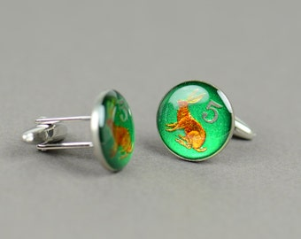 Enamel rabbit Cufflinks - Zimbabwe Coin