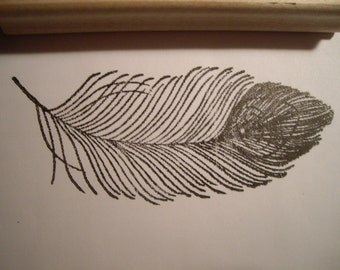 peacock feather large  rubber stamp un-mounted scrapbooking rubber stamping crafting