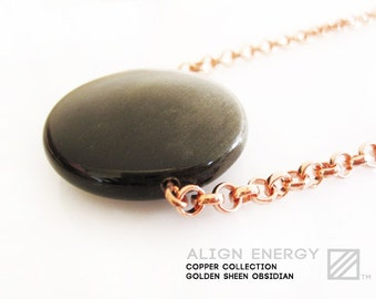 Source Pendant from Align Energy with Natural Golden Sheen Obsidian Gemstone /// Align Energy Copper Collection /// Pure Copper Jewelry