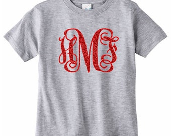 Large Glitter Monogram Toddler T-Shirt, Girls Initial Shirt, Glitter Monogram Tee