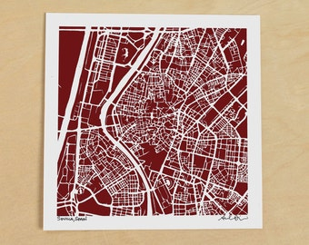 Sevilla Map, Hand-Drawn Map Print of Sevilla, Spain