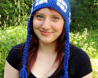 Crochet TARDIS Doctor Who Hat - Time Machine - TARDIS Blue - Gifts Under 25