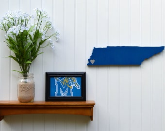 "Memphis Tigers ""State Heart"" wall art, handcrafted wood wtih official team colors"