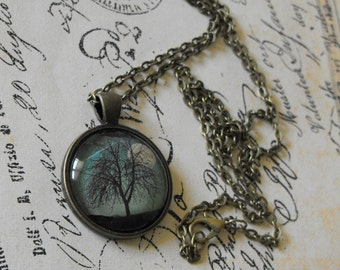 Moon Tree Pendant Necklace Shooting Star Antique Brass Bronze Glass Picture Necklace Nature Inspired