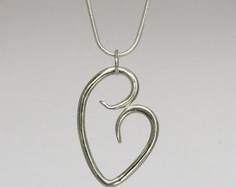 Handmade Sterling Silver Stylized Heart Necklace