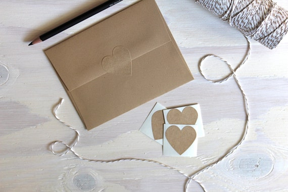 96 1.5 Inch Rustic Kraft Heart Stickers // Envelope Seals // Kraft Stickers // Kraft Seals // Rustic Stickers // Wedding Stickers