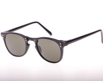 Steampunk wayfarer sunglasses in polished black with antique studs, nobrand fine quality.