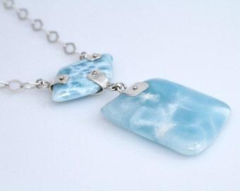Larimar Necklace, Baby Blue Larimar Stones, 16 Inch Necklace, Reversible