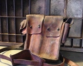 Vintage Leather Ammo Bag, wwii, world war two, military bag