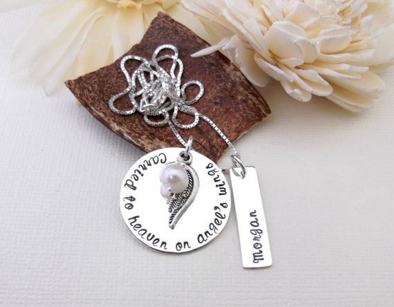 Carried To Heaven On Angel's Wings- Memorial Necklace- Remembrance Necklace- Memorial Jewelry
