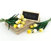10 Mini Yellow Paper Tulips - Made of mulberry paper with wire stems - Great for card making, wedding favour & boutonnieres