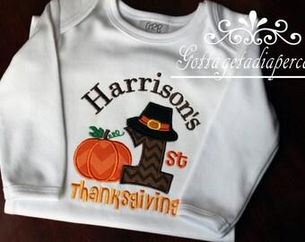 Boys and girl Thanksgiving shirt, Babys 1st Thanksgiving, first thanksgiving, fall,  pumpkin, personalized thanksgiving, personalizations