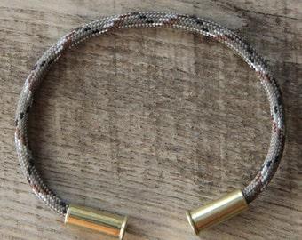 BRZN Bullet Casing Bracelet Desert Camo recycled .22lr shells light brown black white camo 550 paracord wire men women