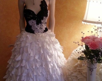 Black & White Corset Crystal Sequin Lace Taffeta Petal Vintage Victorian Inspired Bridal Wedding Ball Gown