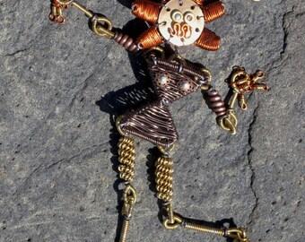 Steampunk Robot Woman Necklace