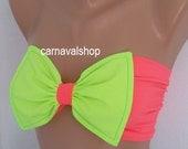 PLUS SIZE-Bow Bandeau-Spandex Bandeau -Swimsuit -Swimwear-Bikini top-bikini-sun bathing-neon-pink
