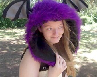 SALE Fluffy Purple Bat Wing Mystic Fur Hood