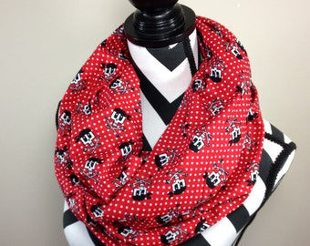 Pirate Scarf, Skull Scarf, Pirate Skeleton Scarf, Red Pirate Print Infinity Scarf