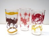 Set of 3 Kitschy 1950s Drinking Glasses Deer and Starbursts