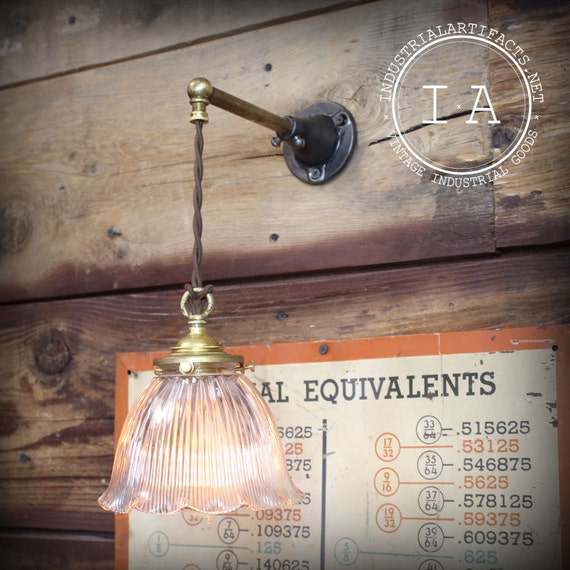 Items similar to Vintage Industrial Brass Hanging Wall Lamp Sconce Holophane Glass Shade on Etsy
