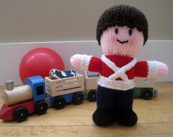 Soldier Doll, Hand Knit Children's Stuffed Toy, Stuffed Doll for Boys, Gender Neutral Toy, Bright Colors, Red, White, Blue