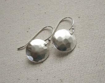 Matte Sterling Silver Hammered Disc Earrings - Modern Jewelry