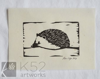 Hedgehog linocut 5 x 7 - mulberry paper